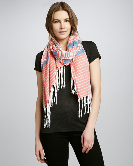 Varied Stripe Fringe Scarf, Samba