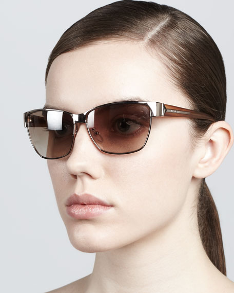 Metal Rectangular Sunglasses, Gold