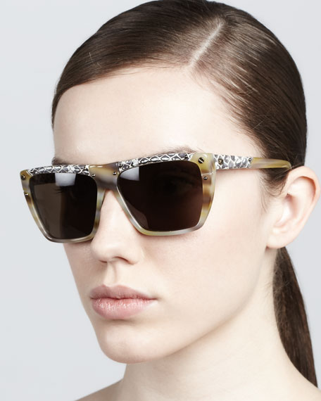 Mix-Pattern Horn Sunglasses, Cream