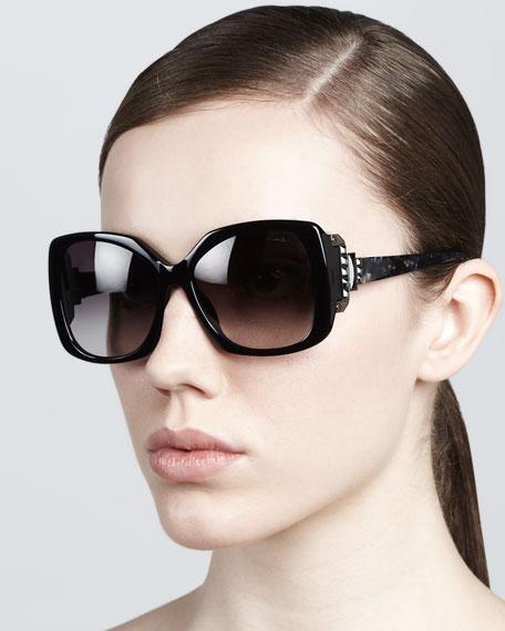 Square Sunglasses, Shiny Black
