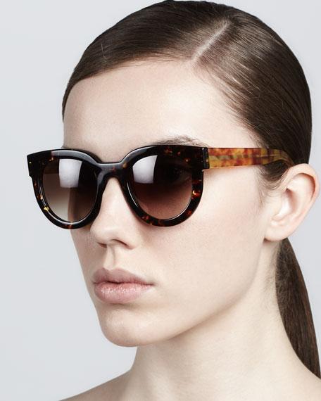 Therapy Large Round Sunglasses, Dark Havana