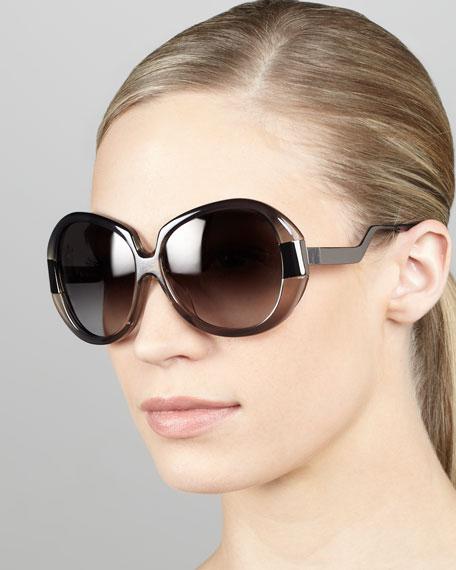 Round Enamel/Metal Sunglasses, Gray