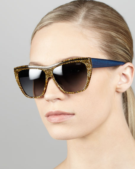 Mosaic Enamel Sunglasses, Brown/Blue