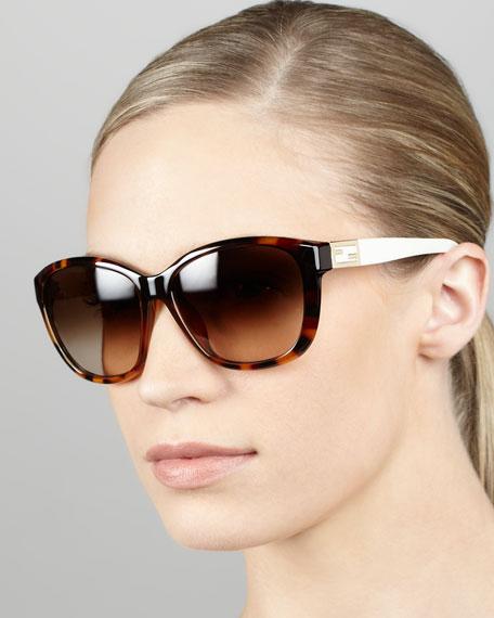 Contrast-Arm Sunglasses, Red/Brown Havana
