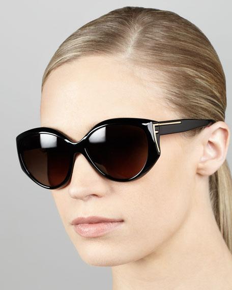 Sleek Logo-Temple Sunglasses, Black