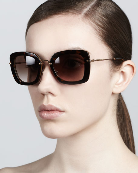 Glam Thick-Rim Sunglasses, Havana