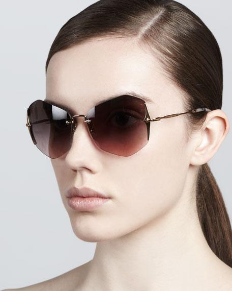 Rimless Irregular Sunglasses, Antique/Lavender