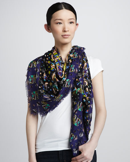 Mixed-Print Geometric Scarf, Blue
