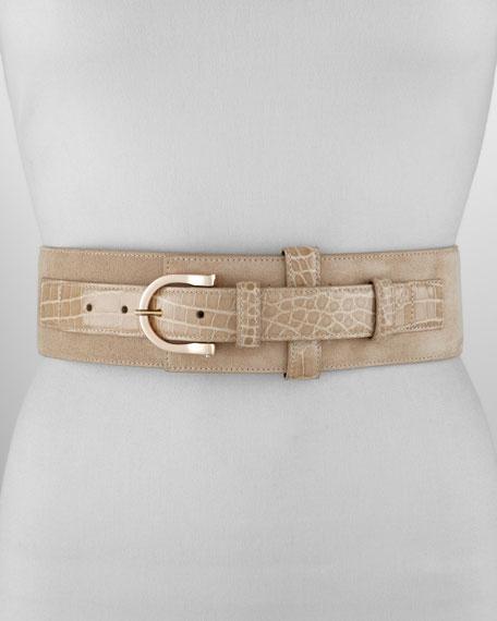 Wide Suede and Alligator-Print Belt