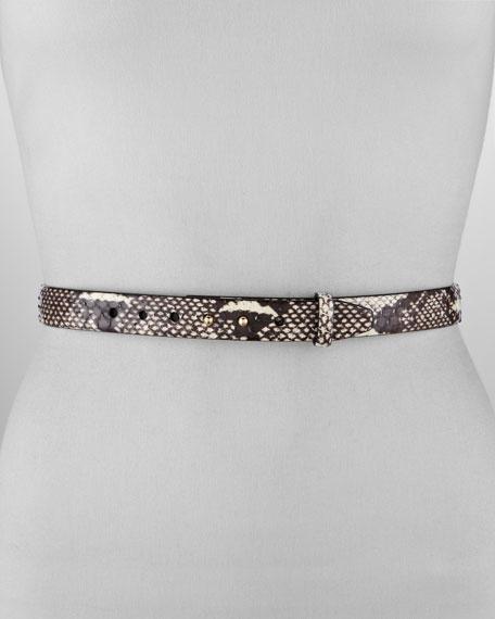 Skinny Double-Stud Snakeskin Belt