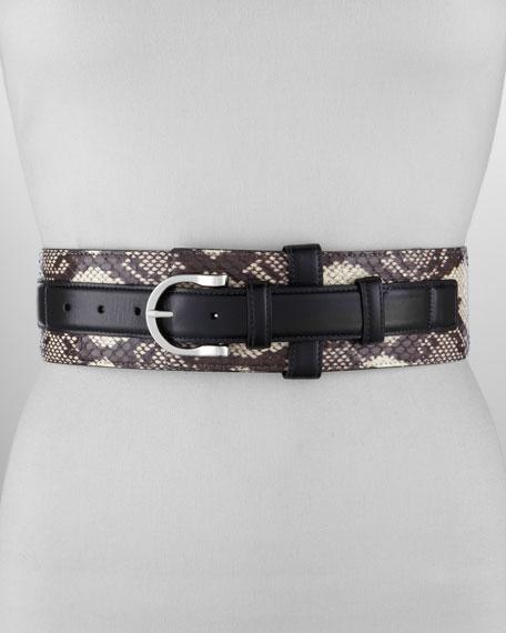 Wide Snakeskin Leather-Strap Belt, Black