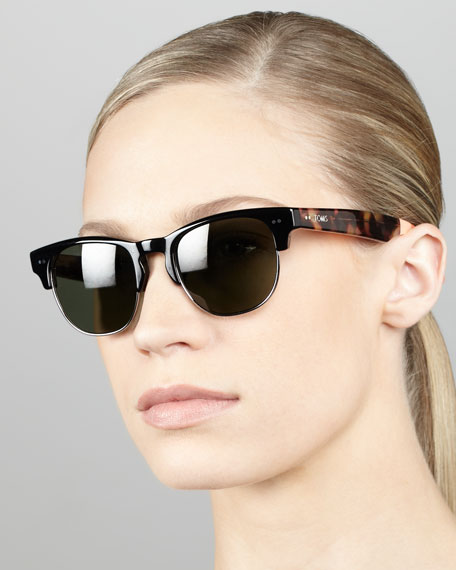 Metal & Enamel Sunglasses, Black/Tortoise