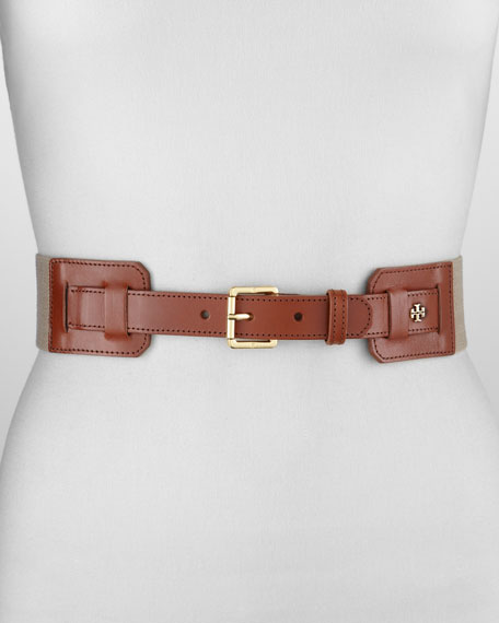 Kiley Leather Stretch Belt, Natural