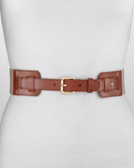 Kiley Leather Stretch Belt, Natural