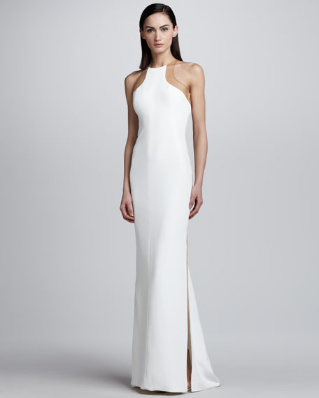 Sheer Back Inset Gown, White