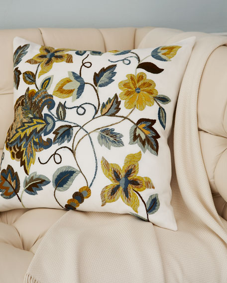 "Crewel Embroidered Pillow, 21""Sq."