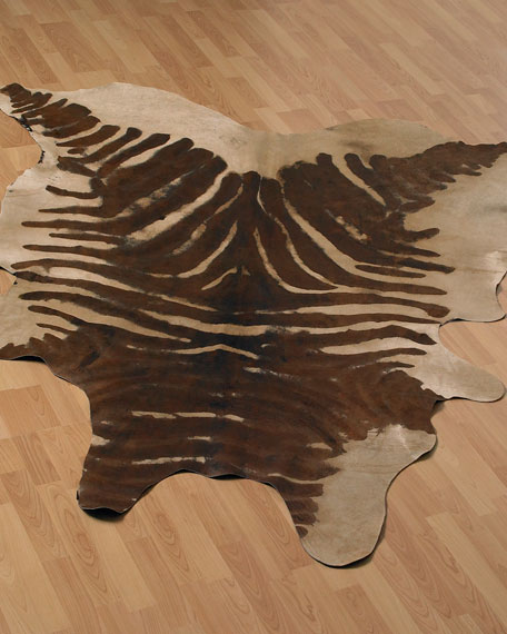 Zebra-Striped Rug, Brown/Cream