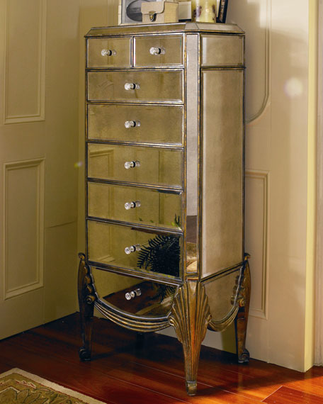 claudia mirrored jewelry armoire neiman marcus. Black Bedroom Furniture Sets. Home Design Ideas