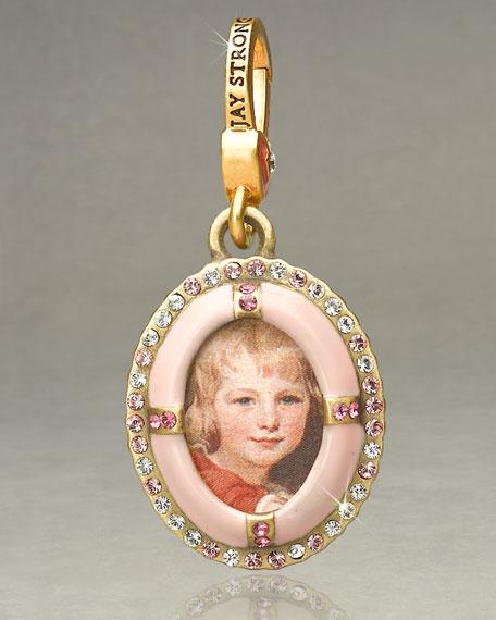 """Dakota"" Pink Oval Frame Charm"