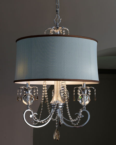 Chandelier with Blue Shade