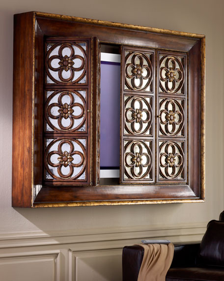 Quatrefoil Flat-Screen TV Entertainment Cabinet