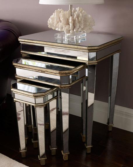 Three Mirrored Nesting Tables