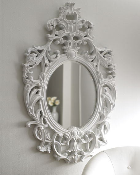 Lily white baroque mirror for Plastic baroque mirror