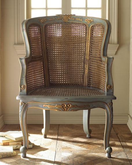 Antiqued Cane Armchair