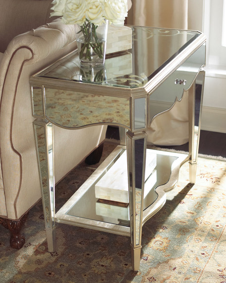 """Bridget"" Mirrored Side Table"