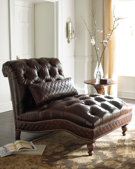 Mocha Leather Chaise
