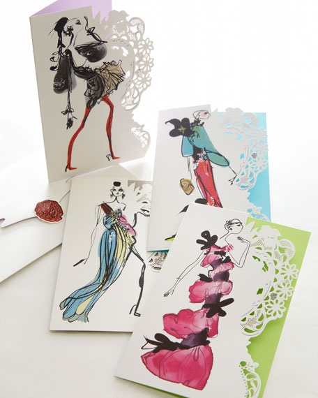"""Haute Couture Fashion Sketch"" Notecards"