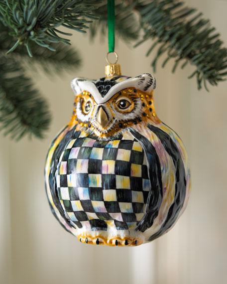 """Courtly Check"" Owl Christmas Ornament"