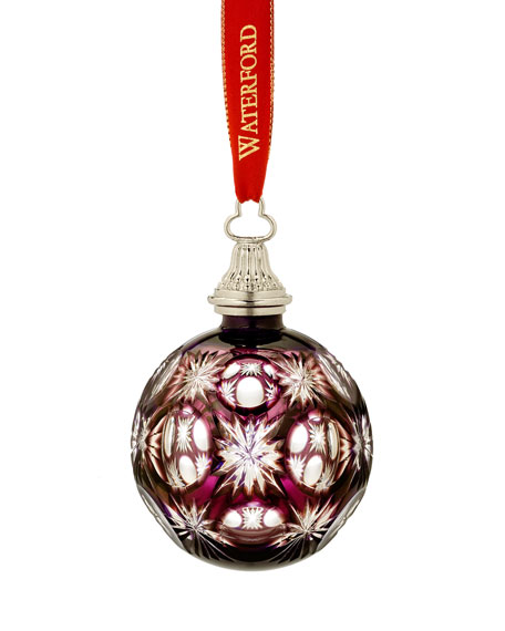 2010 Amethyst Cased Ball Christmas Ornament