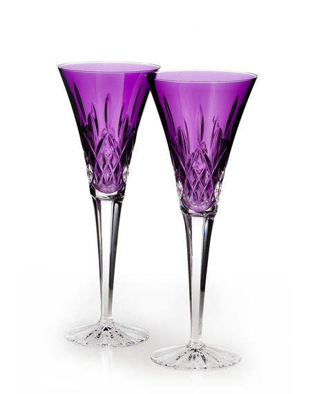 Waterford Crystal Lismore Jewels Amethyst Toasting Flutes, Set
