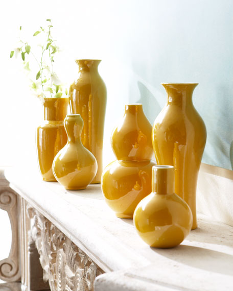 Set of Six Yellow Vases