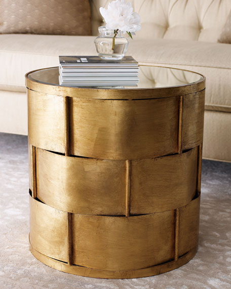 Woven Gold-Leaf Side Table