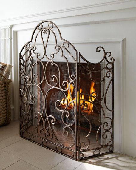 Gold Scroll Fireplace Screen