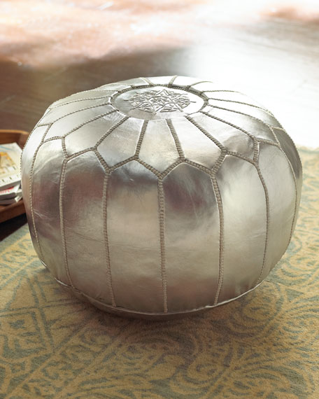 Silver Leather Pouf