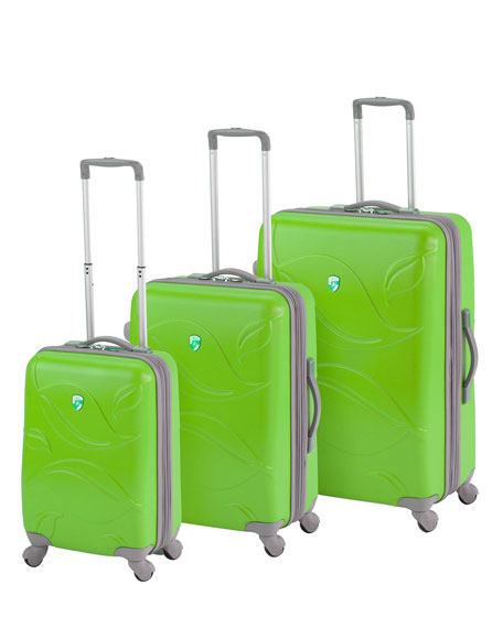 "Green ""Eco Leaves"" Three-Piece Luggage Set"