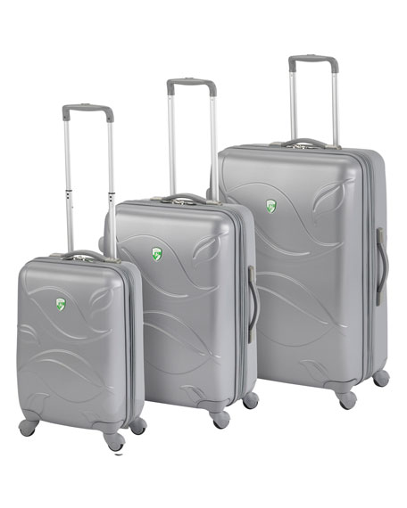 "Silver ""Eco Leaves"" Three-Piece Luggage Set"