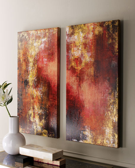 """Set of Two """"Lava Lamp"""" Paintings"""
