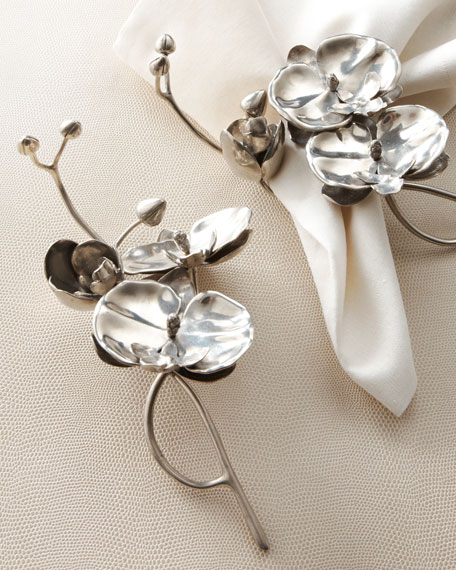 "Four ""Orchid"" Napkin Rings"