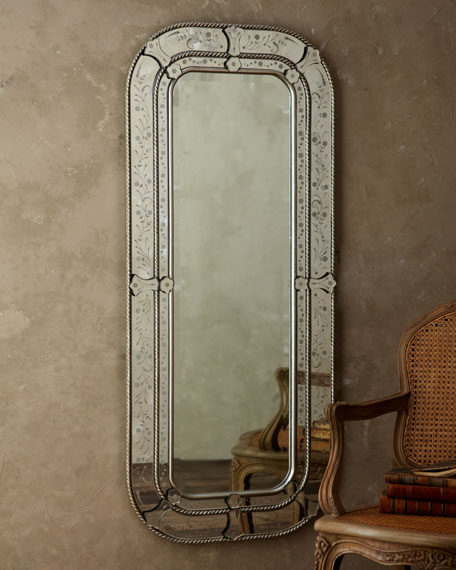 Etched Floral Mirror