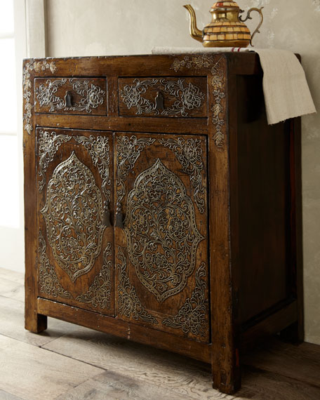 Antique Etched Cabinet