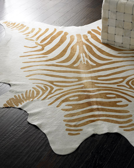 "Cream ""Zebra"" Hide Rug"