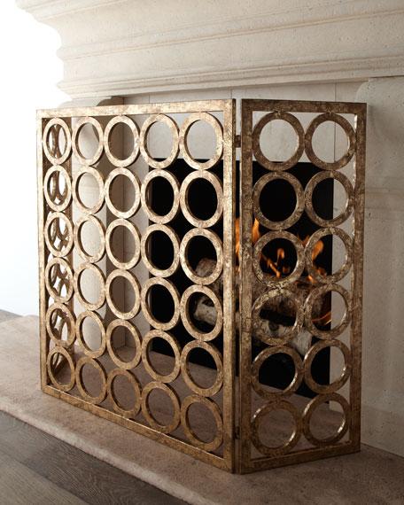 """""""Golden Circles"""" Fireplace Screen"""
