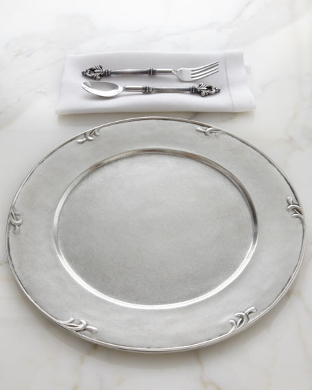 """Petite Scroll"" Pewter Charger Plate"