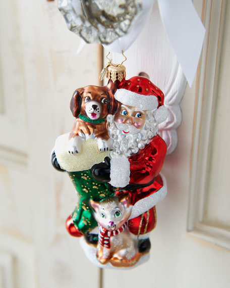 """Furry Friends"" Santa Ornament"