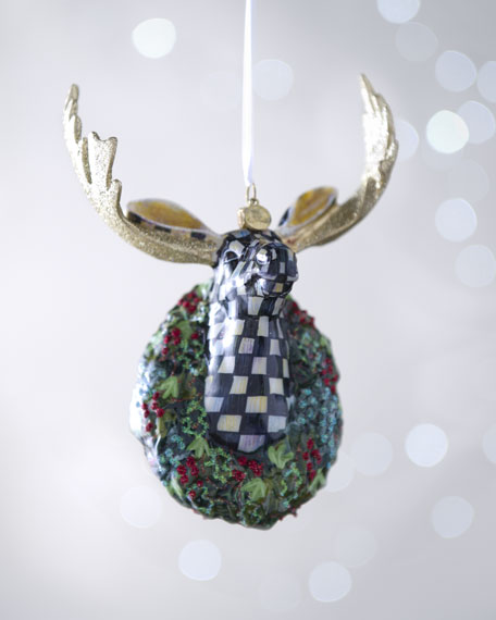 Courtly Check Moose Holiday Ornament