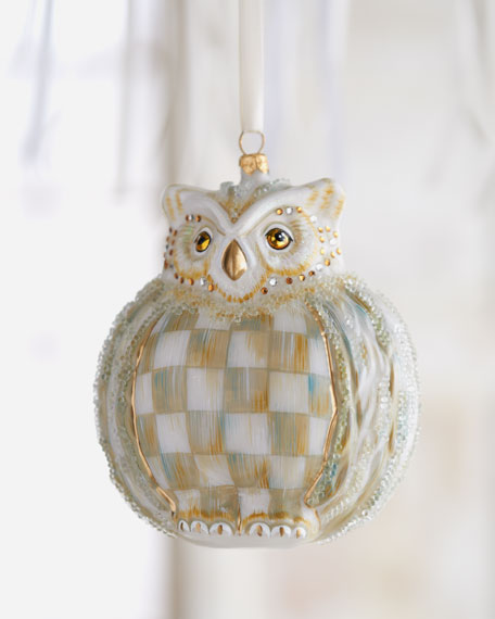"""Parchment Check"" Owl Christmas Ornament"